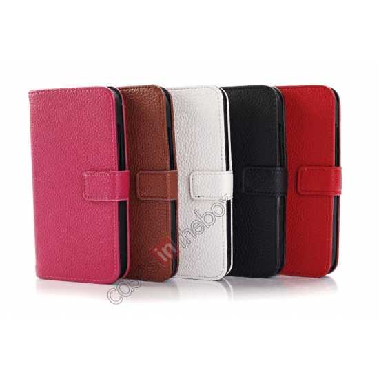 high quanlity Litchi Leather Wallet Stand Case for Motorola Moto G w/ Card Slots & Stand - White