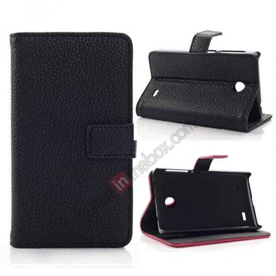wholesale Litchi Pattern Leather Stand Case for Nokia X With Card Slots - Black