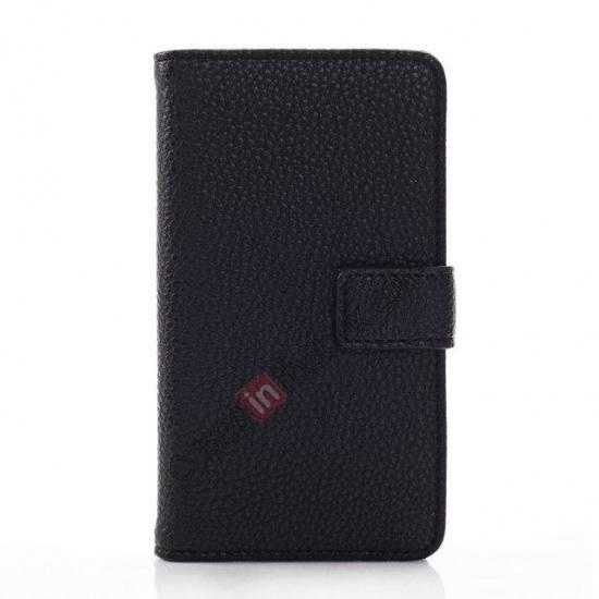 discount Litchi Pattern Leather Stand Case for Nokia X With Card Slots - Black