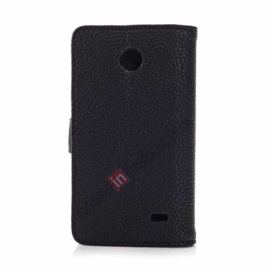 cheap Litchi Pattern Leather Stand Case for Nokia X With Card Slots - Black