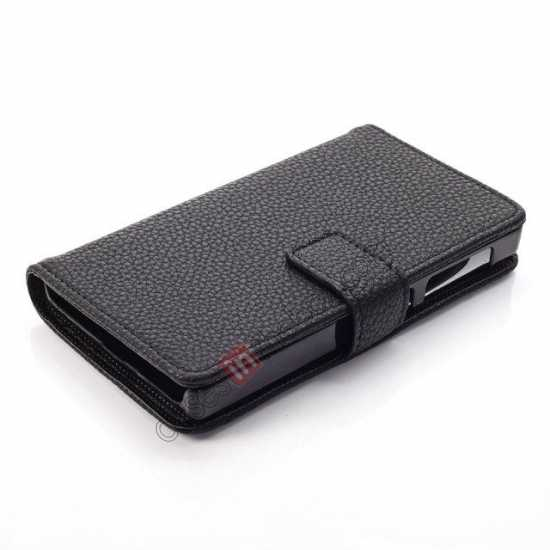 best price Litchi Pattern Leather Stand Case for Nokia X With Card Slots - Black