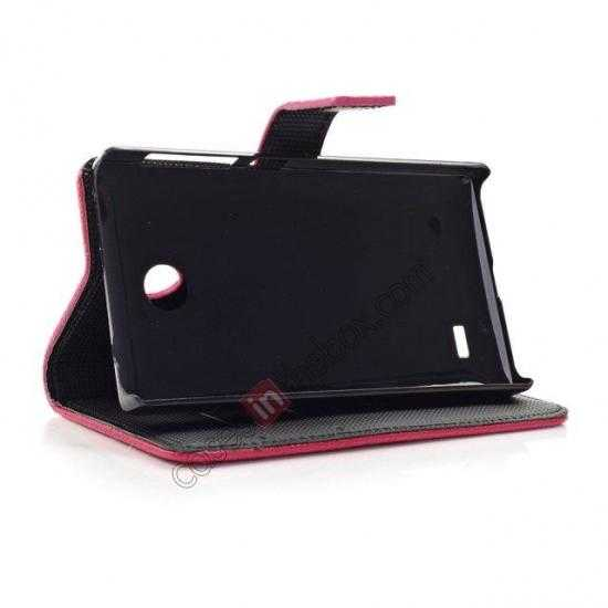 on sale Litchi Pattern Leather Stand Case for Nokia X With Card Slots - Black