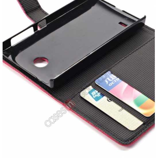 high quanlity Litchi Pattern Leather Stand Case for Nokia X With Card Slots - Black