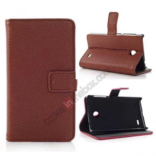 wholesale Litchi Pattern Leather Stand Case for Nokia X With Card Slots - Brown