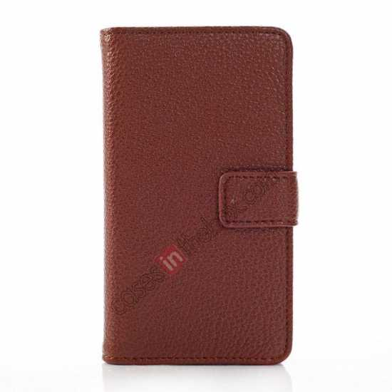 discount Litchi Pattern Leather Stand Case for Nokia X With Card Slots - Brown