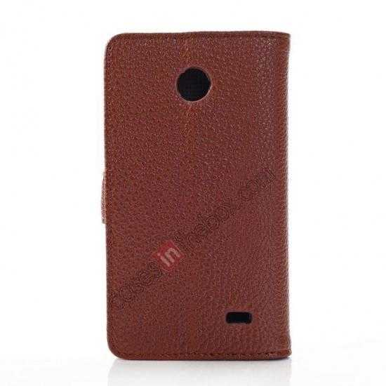 cheap Litchi Pattern Leather Stand Case for Nokia X With Card Slots - Brown