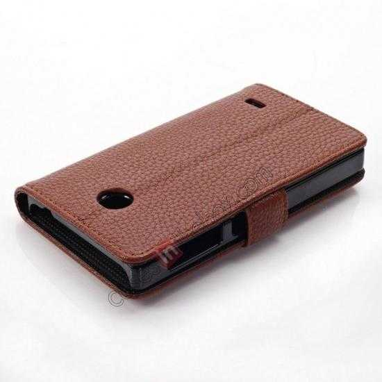 best price Litchi Pattern Leather Stand Case for Nokia X With Card Slots - Brown