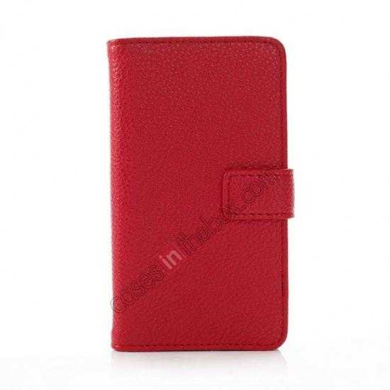 discount Litchi Pattern Leather Stand Case for Nokia X With Card Slots - Red
