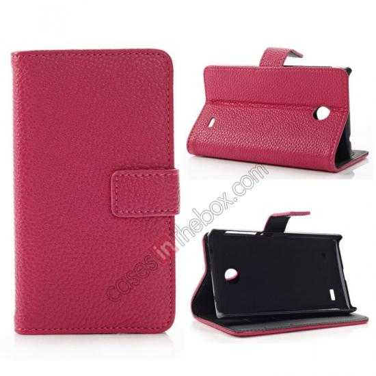 wholesale Litchi Pattern Leather Stand Case for Nokia X With Card Slots - Rose