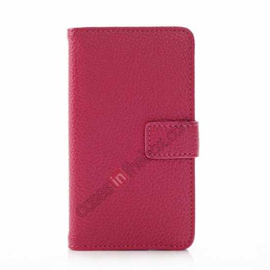 discount Litchi Pattern Leather Stand Case for Nokia X With Card Slots - Rose