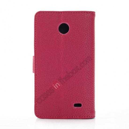 cheap Litchi Pattern Leather Stand Case for Nokia X With Card Slots - Rose