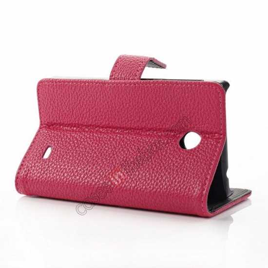top quality Litchi Pattern Leather Stand Case for Nokia X With Card Slots - Rose