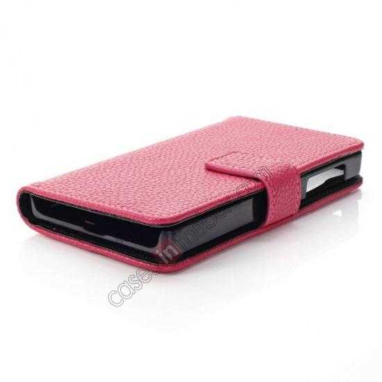 high quanlity Litchi Pattern Leather Stand Case for Nokia X With Card Slots - Rose