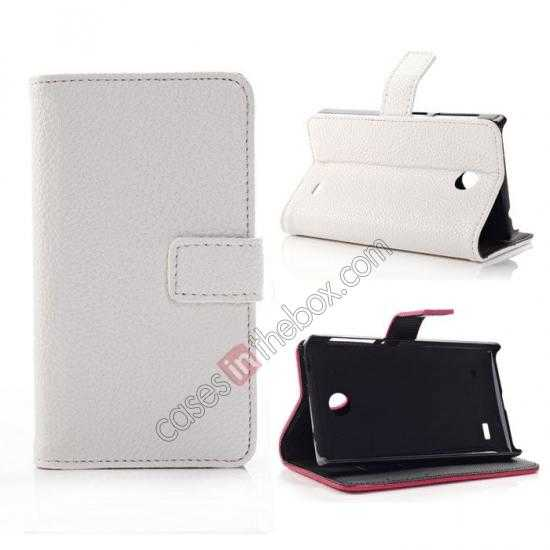wholesale Litchi Pattern Leather Stand Case for Nokia X With Card Slots - White