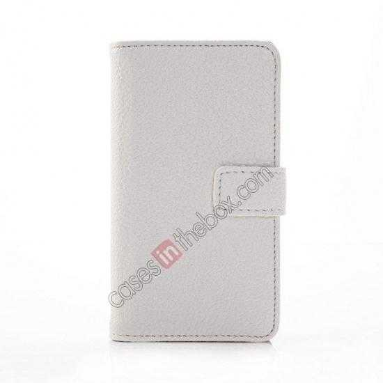 discount Litchi Pattern Leather Stand Case for Nokia X With Card Slots - White