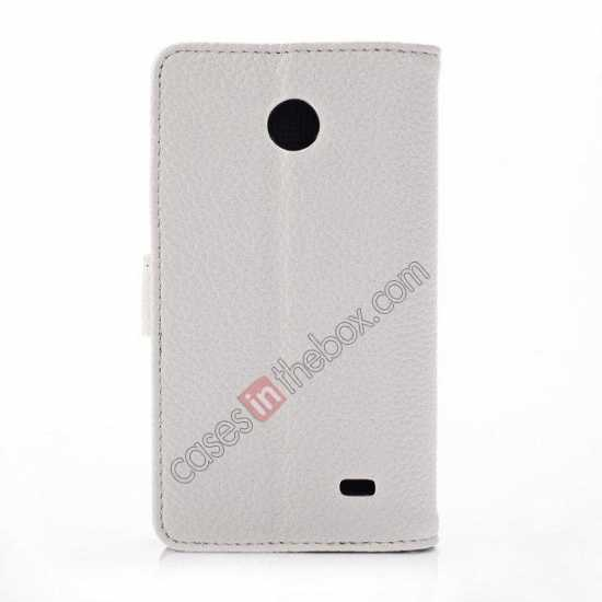 cheap Litchi Pattern Leather Stand Case for Nokia X With Card Slots - White