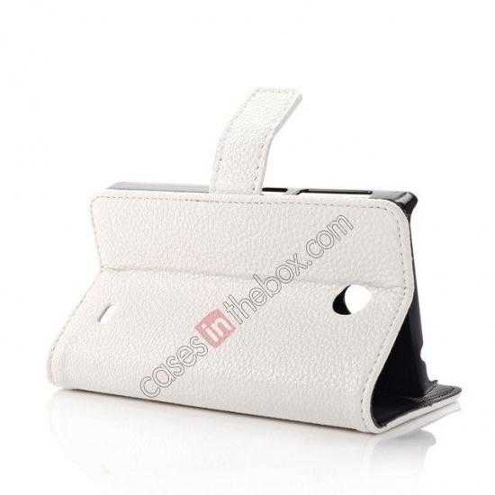 top quality Litchi Pattern Leather Stand Case for Nokia X With Card Slots - White