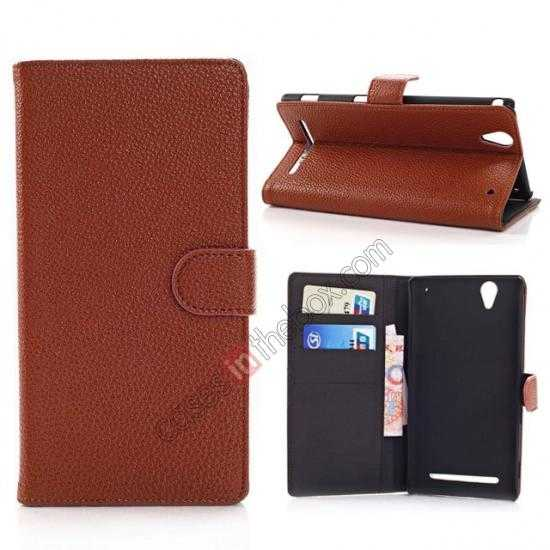 wholesale Litchi Skin Wallet Leather Case w/ Stand for Sony Xperia T2 Ultra - Brown