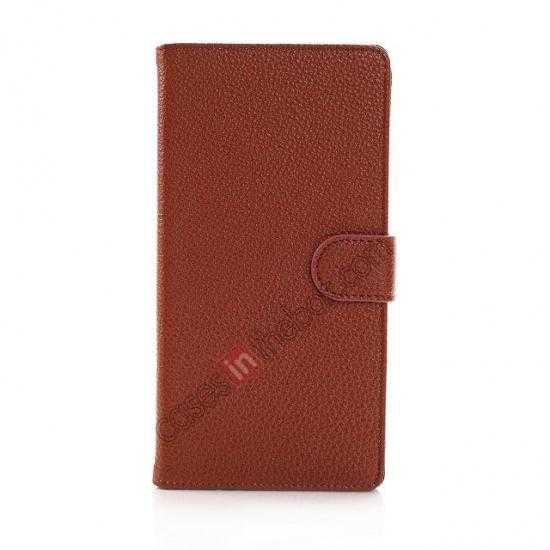 discount Litchi Skin Wallet Leather Case w/ Stand for Sony Xperia T2 Ultra - Brown