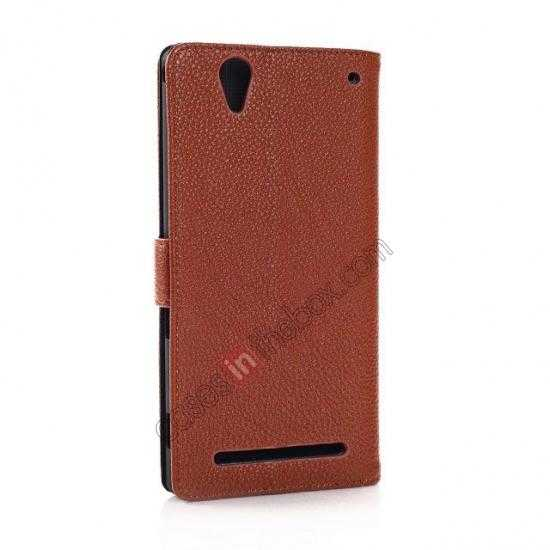 cheap Litchi Skin Wallet Leather Case w/ Stand for Sony Xperia T2 Ultra - Brown