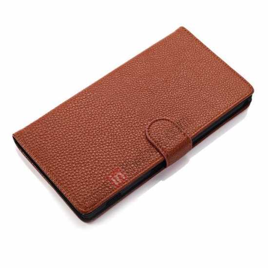top quality Litchi Skin Wallet Leather Case w/ Stand for Sony Xperia T2 Ultra - Brown