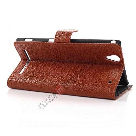 best price Litchi Skin Wallet Leather Case w/ Stand for Sony Xperia T2 Ultra - Brown