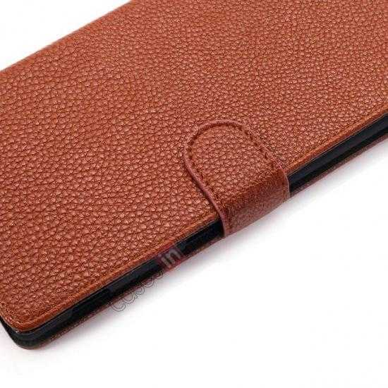 low price Litchi Skin Wallet Leather Case w/ Stand for Sony Xperia T2 Ultra - Brown