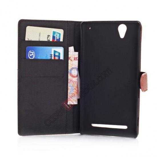 high quanlity Litchi Skin Wallet Leather Case w/ Stand for Sony Xperia T2 Ultra - Brown