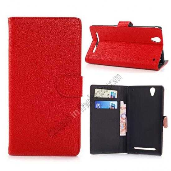 wholesale Litchi Skin Wallet Leather Case w/ Stand for Sony Xperia T2 Ultra - Red