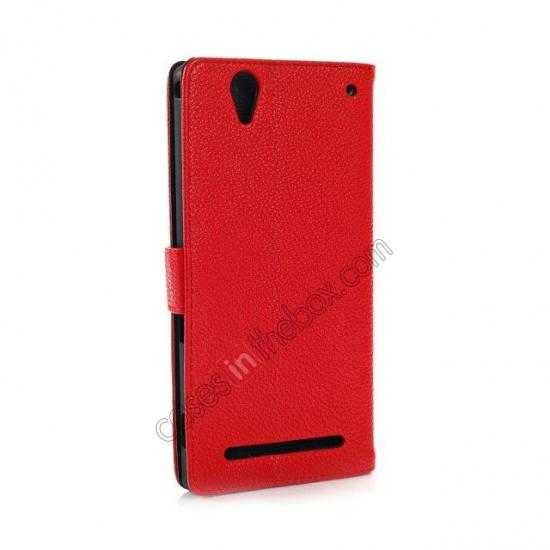 discount Litchi Skin Wallet Leather Case w/ Stand for Sony Xperia T2 Ultra - Red