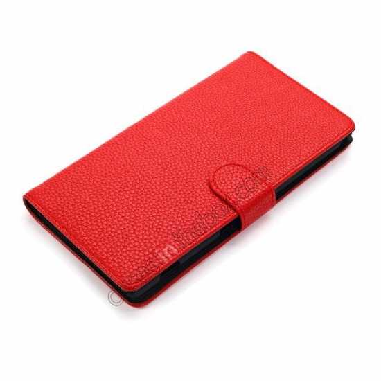 cheap Litchi Skin Wallet Leather Case w/ Stand for Sony Xperia T2 Ultra - Red
