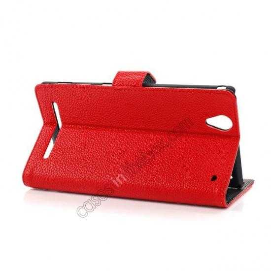 top quality Litchi Skin Wallet Leather Case w/ Stand for Sony Xperia T2 Ultra - Red