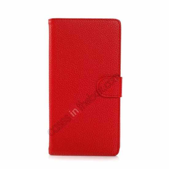 best price Litchi Skin Wallet Leather Case w/ Stand for Sony Xperia T2 Ultra - Red