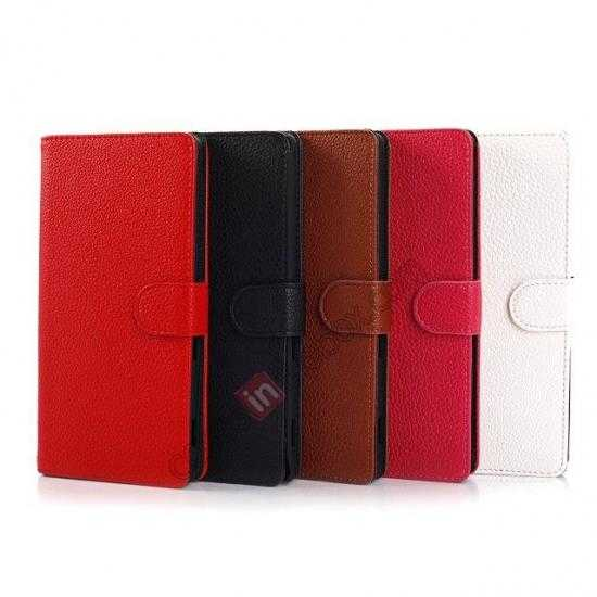 low price Litchi Skin Wallet Leather Case w/ Stand for Sony Xperia T2 Ultra - Red