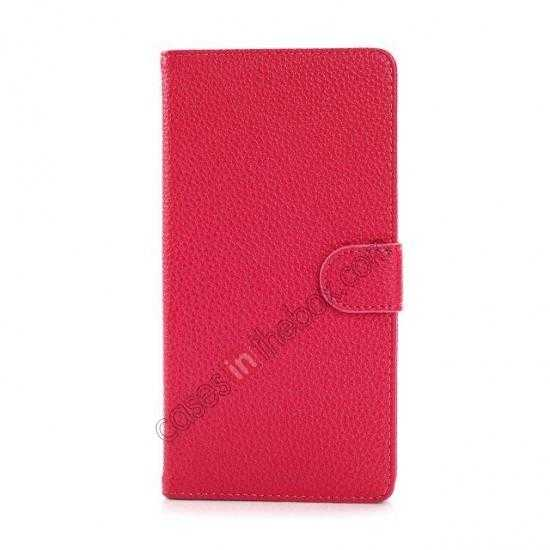 cheap Litchi Skin Wallet Leather Case w/ Stand for Sony Xperia T2 Ultra - Rose