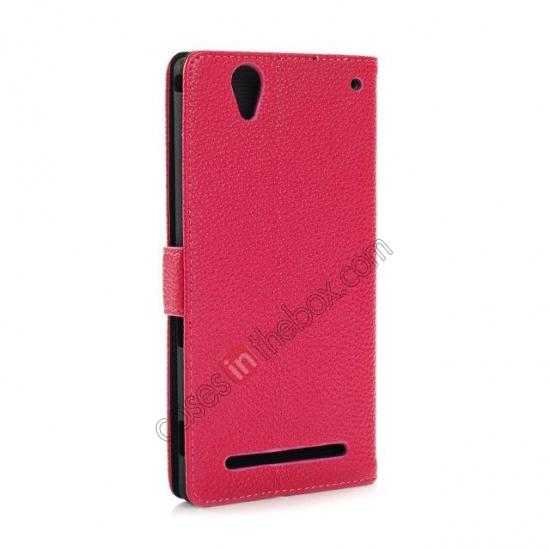 top quality Litchi Skin Wallet Leather Case w/ Stand for Sony Xperia T2 Ultra - Rose