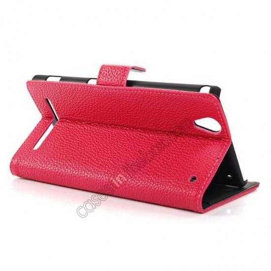 discount Litchi Skin Wallet Leather Case w/ Stand for Sony Xperia T2 Ultra - Rose