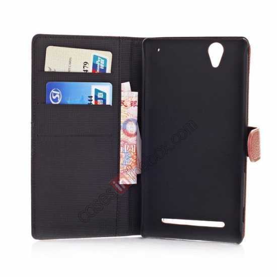on sale Litchi Skin Wallet Leather Case w/ Stand for Sony Xperia T2 Ultra - Rose