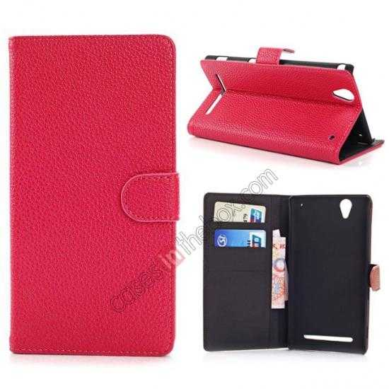 wholesale Litchi Skin Wallet Leather Case w/ Stand for Sony Xperia T2 Ultra - Rose