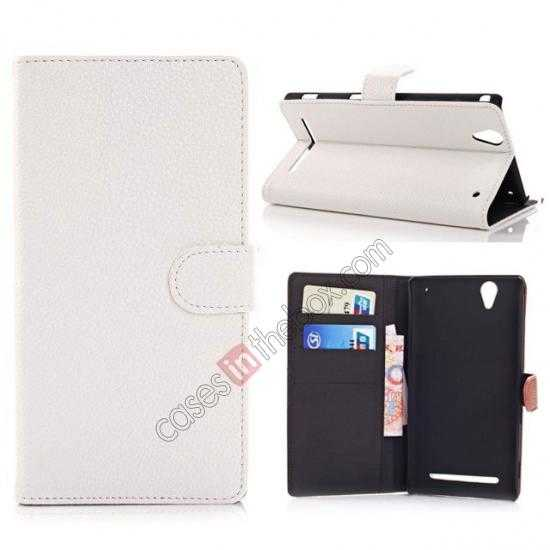 wholesale Litchi Skin Wallet Leather Case w/ Stand for Sony Xperia T2 Ultra - White