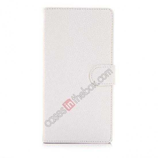 discount Litchi Skin Wallet Leather Case w/ Stand for Sony Xperia T2 Ultra - White