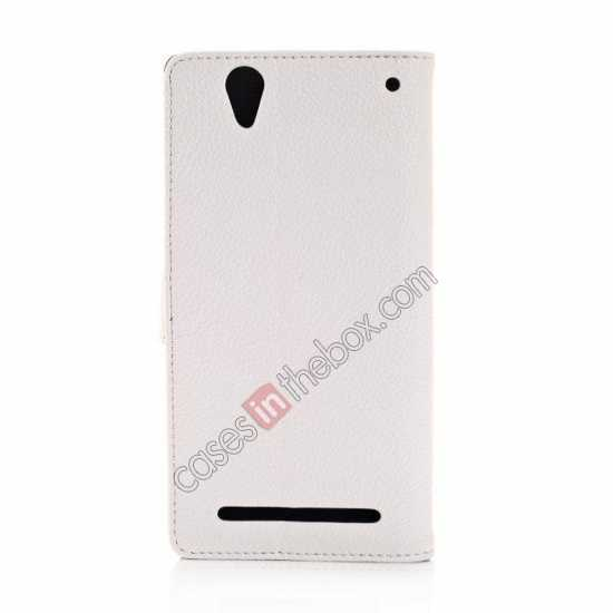 top quality Litchi Skin Wallet Leather Case w/ Stand for Sony Xperia T2 Ultra - White