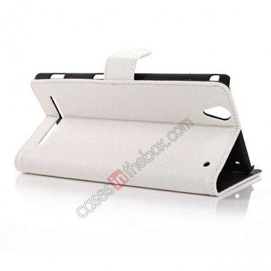 best price Litchi Skin Wallet Leather Case w/ Stand for Sony Xperia T2 Ultra - White