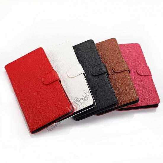 low price Litchi Skin Wallet Leather Case w/ Stand for Sony Xperia T2 Ultra - White