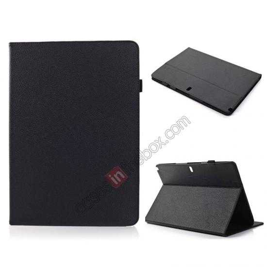 wholesale Litchi Texture Flip Leather Book Folio Stand Case for Samsung Galaxy Tab Pro 12.2 P900 - Black