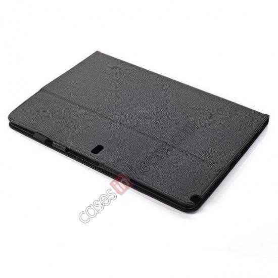 best price Litchi Texture Flip Leather Book Folio Stand Case for Samsung Galaxy Tab Pro 12.2 P900 - Black