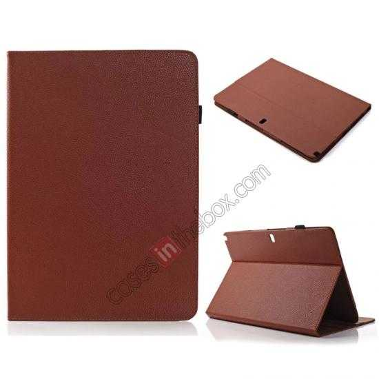 wholesale Litchi Texture Flip Leather Book Folio Stand Case for Samsung Galaxy Tab Pro 12.2 P900 - Brown