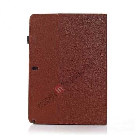 cheap Litchi Texture Flip Leather Book Folio Stand Case for Samsung Galaxy Tab Pro 12.2 P900 - Brown