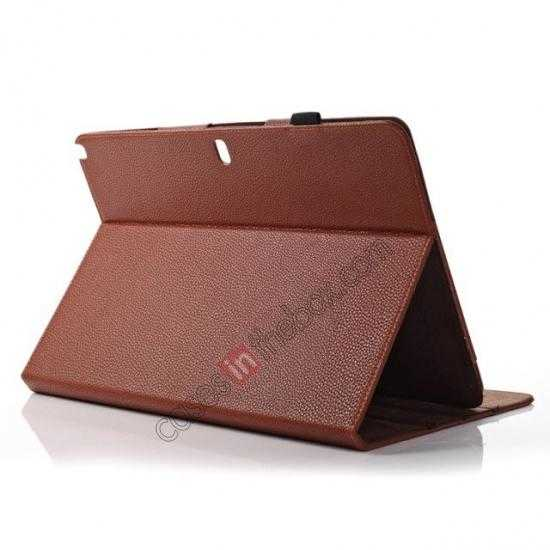 top quality Litchi Texture Flip Leather Book Folio Stand Case for Samsung Galaxy Tab Pro 12.2 P900 - Brown