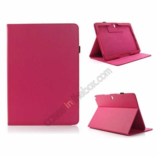 wholesale Litchi Texture Flip Leather Book Folio Stand Case for Samsung Galaxy Tab Pro 12.2 P900 - Rose